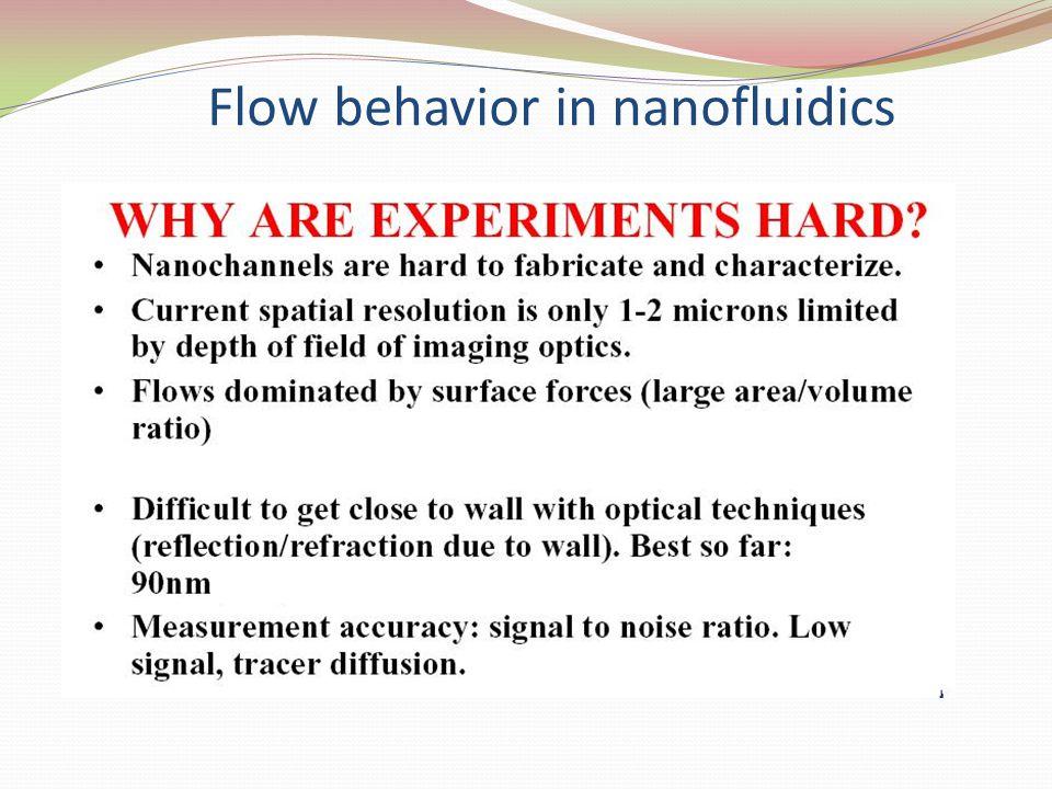 Flow behavior in nanofluidics
