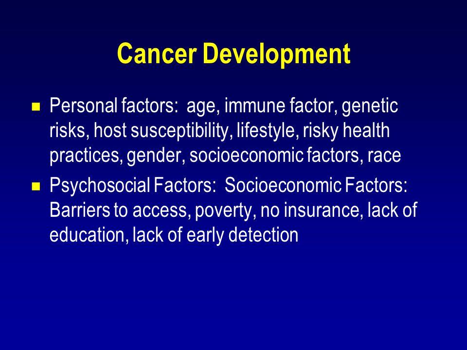 Cancer Development  Personal factors: age, immune factor, genetic risks, host susceptibility, lifestyle, risky health practices, gender, socioeconomi