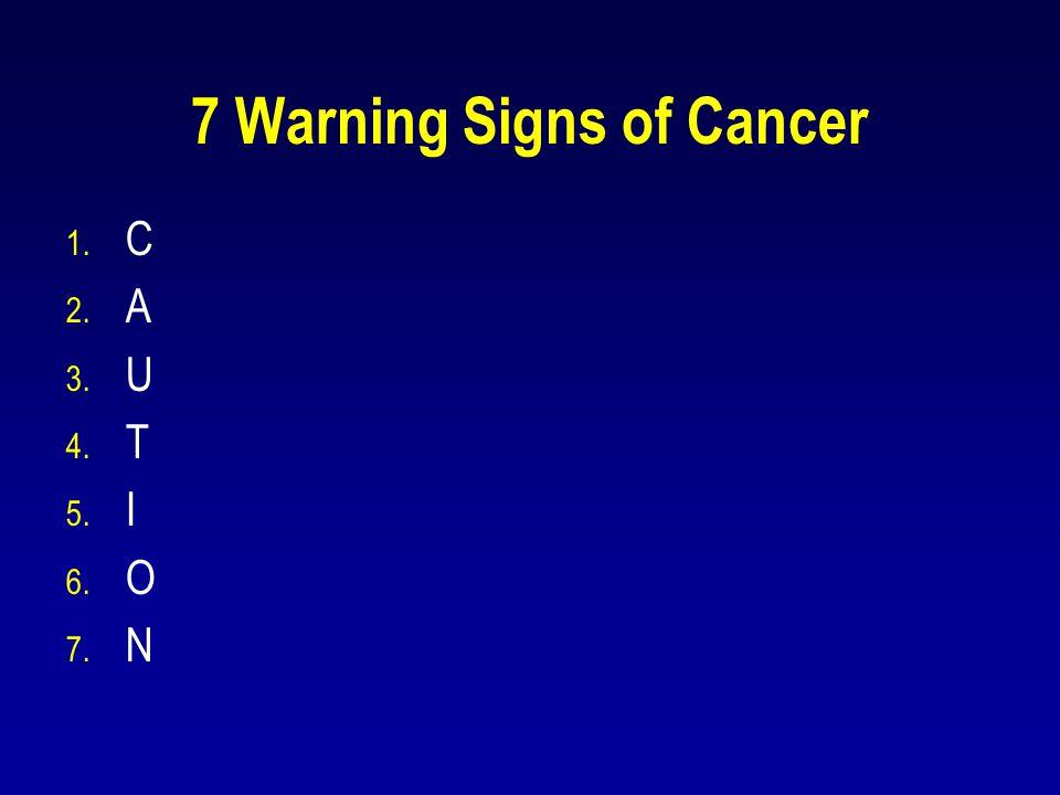 7 Warning Signs of Cancer 1. C 2. A 3. U 4. T 5. I 6. O 7. N