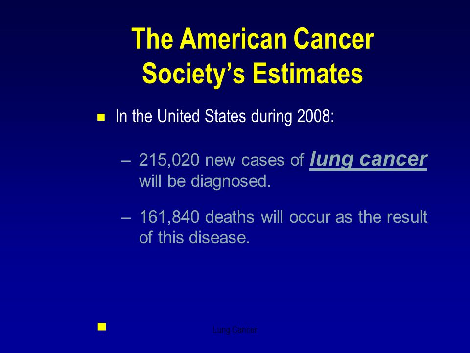 Lung Cancer The American Cancer Society's Estimates  In the United States during 2008: –215,020 new cases of lung cancer will be diagnosed. –161,840