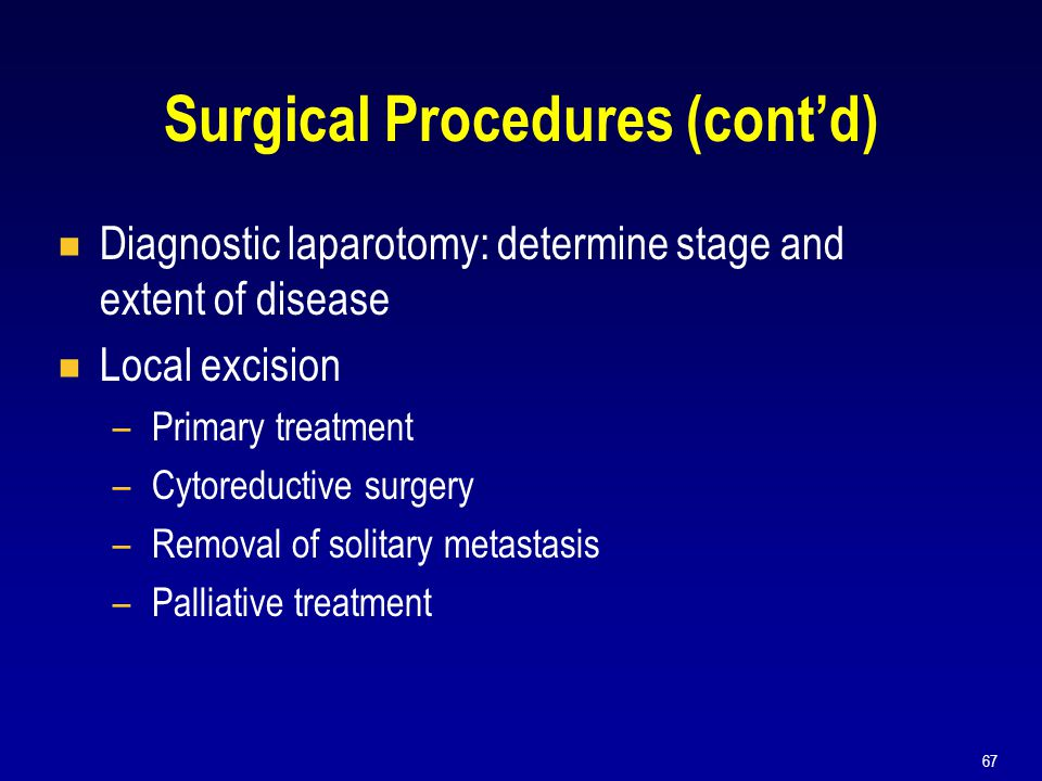 67 Surgical Procedures (cont'd)  Diagnostic laparotomy: determine stage and extent of disease  Local excision –Primary treatment –Cytoreductive surg