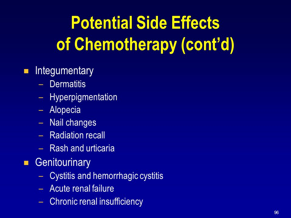 96 Potential Side Effects of Chemotherapy (cont'd)  Integumentary –Dermatitis –Hyperpigmentation –Alopecia –Nail changes –Radiation recall –Rash and