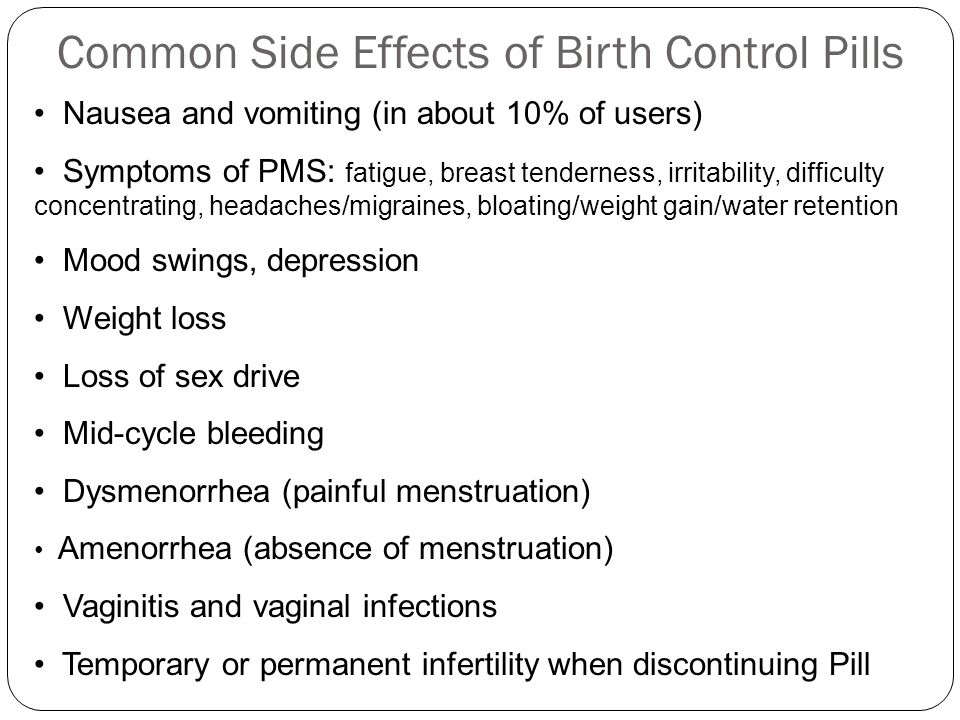 Common Side Effects of Birth Control Pills Nausea and vomiting (in about 10% of users) Symptoms of PMS: fatigue, breast tenderness, irritability, difficulty concentrating, headaches/migraines, bloating/weight gain/water retention Mood swings, depression Weight loss Loss of sex drive Mid-cycle bleeding Dysmenorrhea (painful menstruation) Amenorrhea (absence of menstruation) Vaginitis and vaginal infections Temporary or permanent infertility when discontinuing Pill