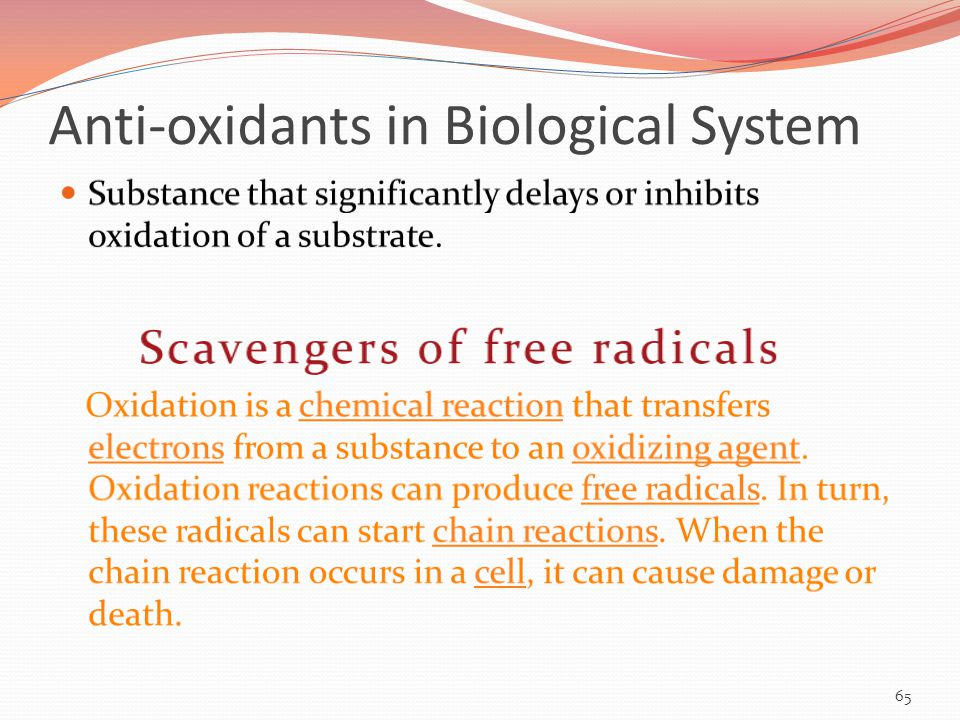 Anti-oxidants in Biological System 65