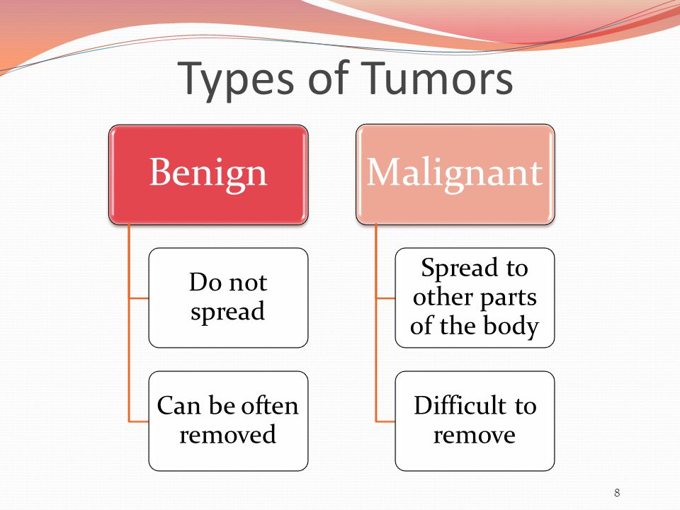 Types of Tumors Benign Do not spread Can be often removed Malignant Spread to other parts of the body Difficult to remove 8