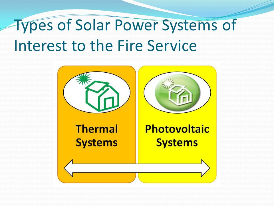 Types of Solar Power Systems of Interest to the Fire Service