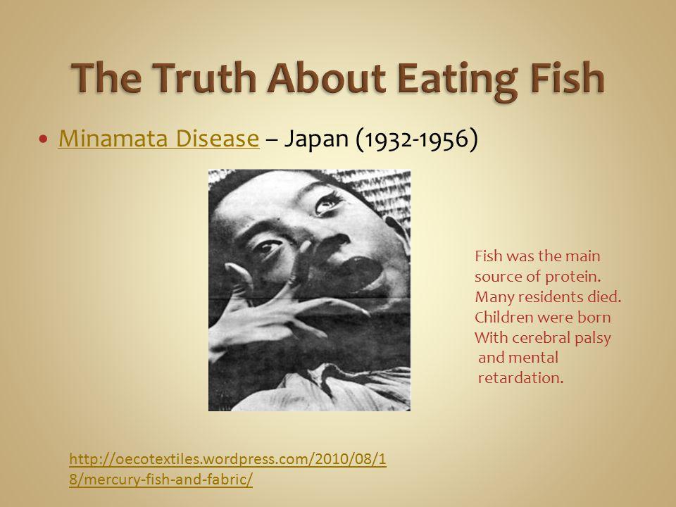 Minamata Disease – Japan (1932-1956) Minamata Disease http://oecotextiles.wordpress.com/2010/08/1 8/mercury-fish-and-fabric/ Fish was the main source