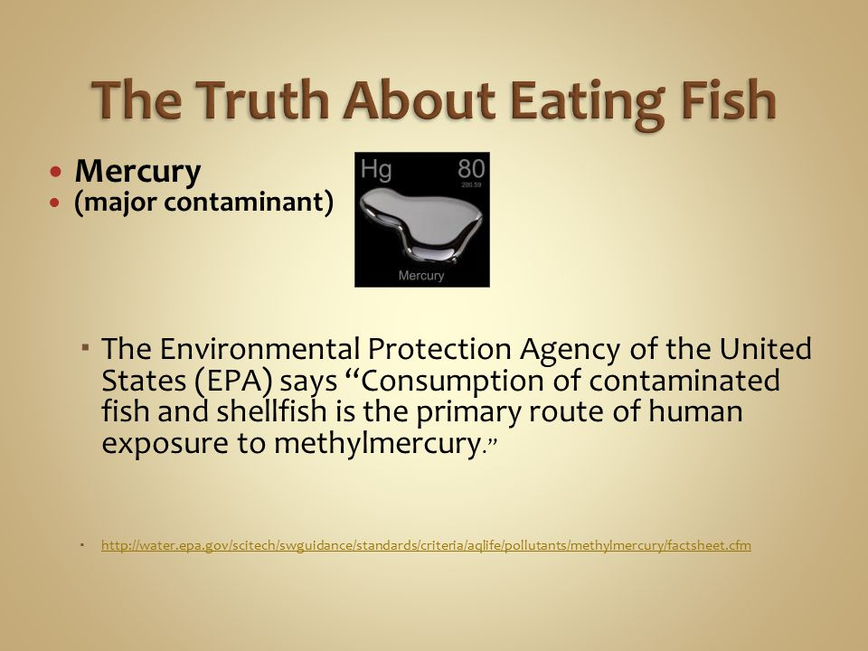 Do not eat Shark, Swordfish, King Mackerel, or Tilefish because they contain high levels of mercury.