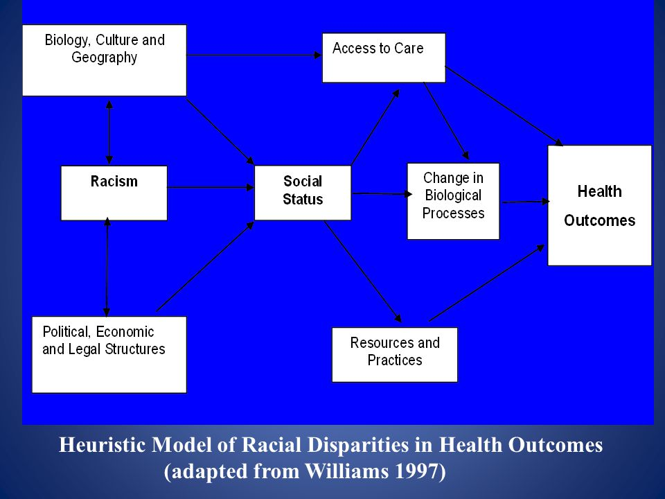 Heuristic Model of Racial Disparities in Health Outcomes (adapted from Williams 1997)
