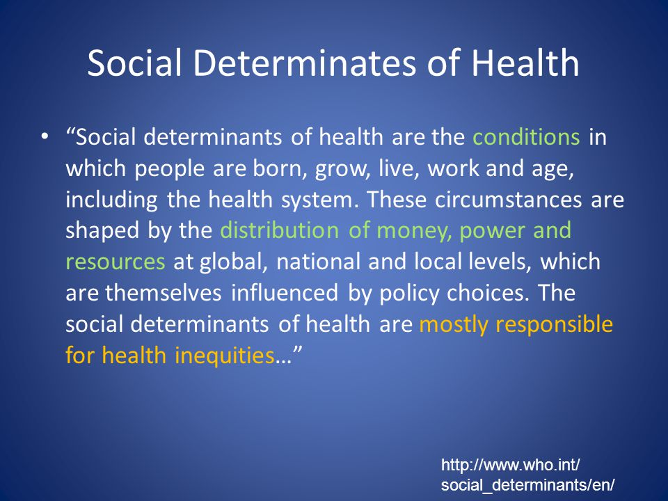 Social Determinates of Health Social determinants of health are the conditions in which people are born, grow, live, work and age, including the health system.