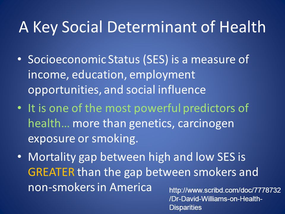 A Key Social Determinant of Health Socioeconomic Status (SES) is a measure of income, education, employment opportunities, and social influence It is one of the most powerful predictors of health… more than genetics, carcinogen exposure or smoking.