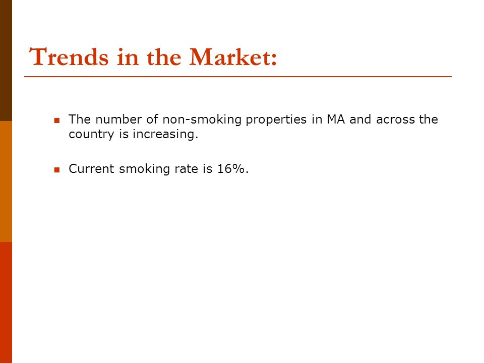 Trends in the Market: The number of non-smoking properties in MA and across the country is increasing.