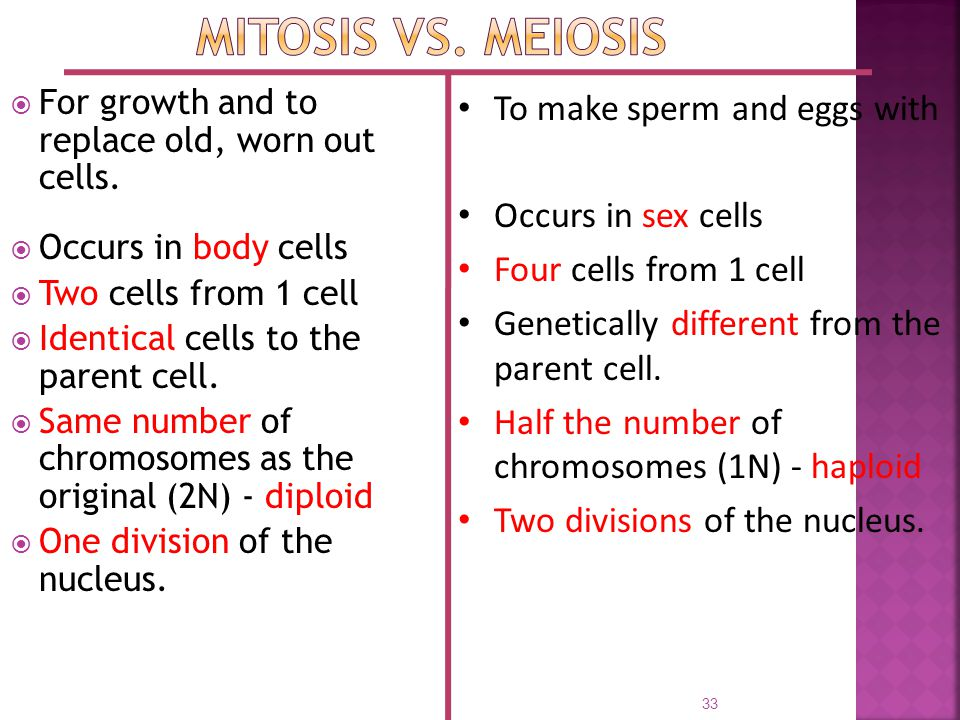  For growth and to replace old, worn out cells.  Occurs in body cells  Two cells from 1 cell  Identical cells to the parent cell.  Same number of