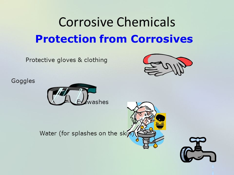 Corrosive Chemicals Protection from Corrosives Protective gloves & clothing Goggles Eyewashes Water (for splashes on the skin)