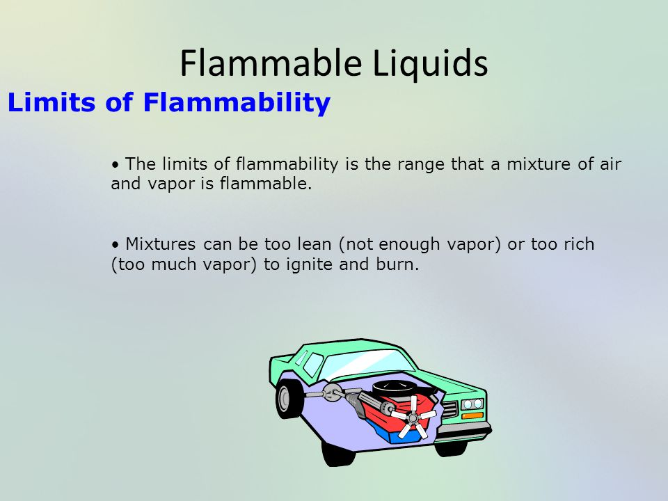 Flammable Liquids Limits of Flammability The limits of flammability is the range that a mixture of air and vapor is flammable. Mixtures can be too lea