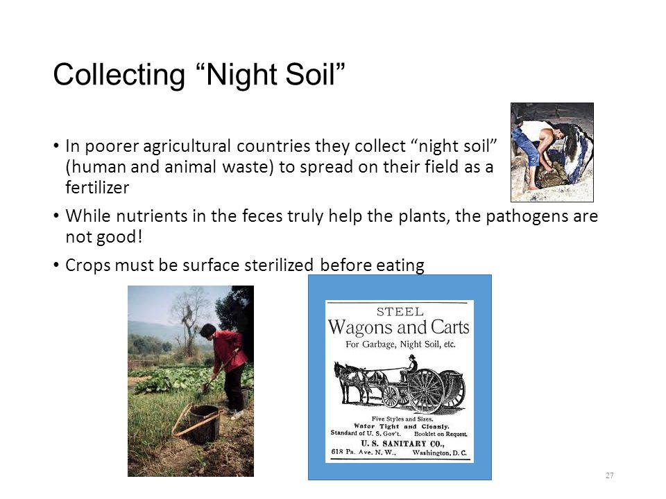 "Collecting ""Night Soil"" In poorer agricultural countries they collect ""night soil"" (human and animal waste) to spread on their field as a fertilizer W"