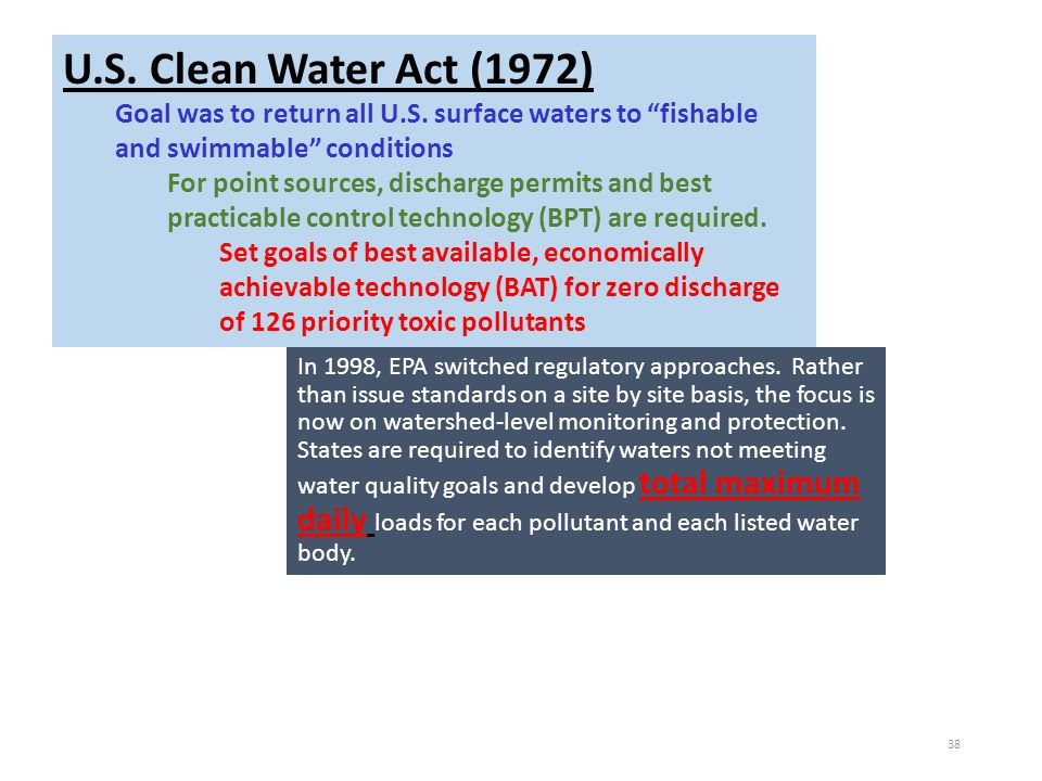 "U.S. Clean Water Act (1972) Goal was to return all U.S. surface waters to ""fishable and swimmable"" conditions For point sources, discharge permits and"