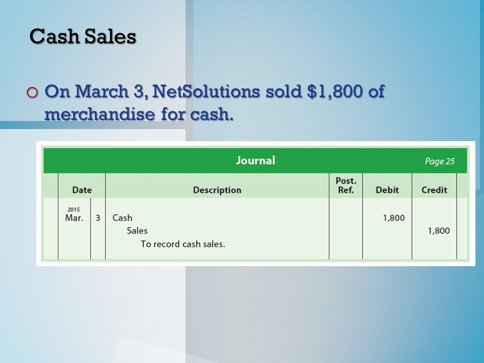 Cash Sales o On March 3, NetSolutions sold $1,800 of merchandise for cash.