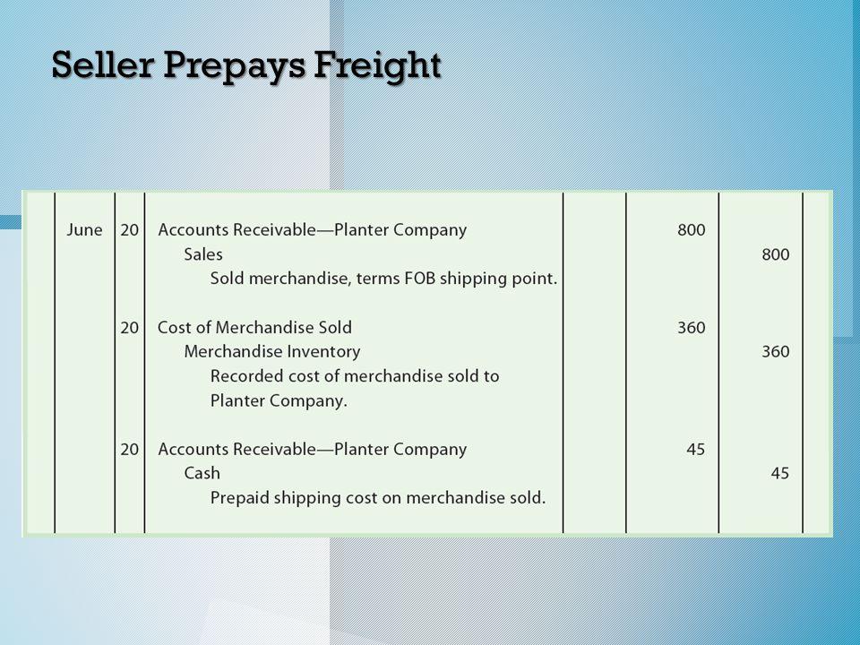 Seller Prepays Freight
