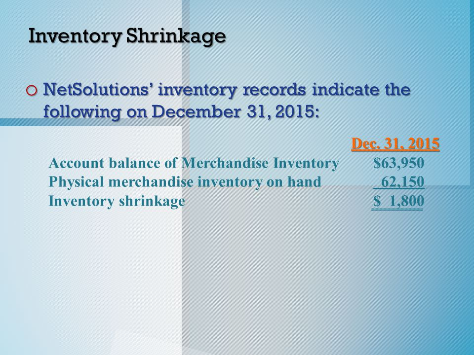 Dec. 31, 2015 Account balance of Merchandise Inventory$63,950 Physical merchandise inventory on hand 62,150 Inventory shrinkage$ 1,800 Inventory Shrin