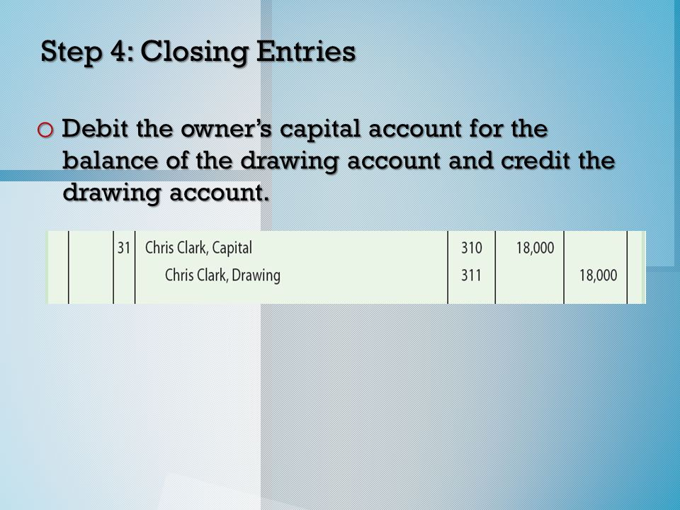 Step 4: Closing Entries o Debit the owner's capital account for the balance of the drawing account and credit the drawing account.