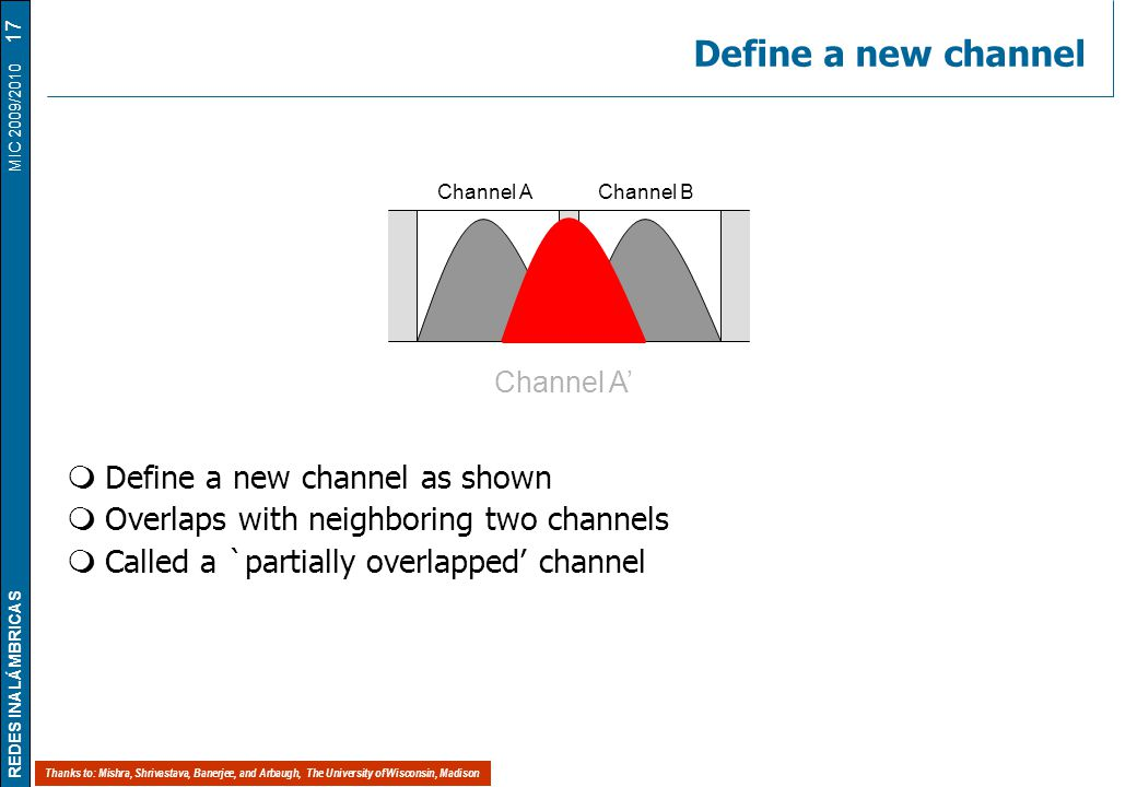 REDES INALÁMBRICAS MIC 2009/2010 Define a new channel  Define a new channel as shown  Overlaps with neighboring two channels  Called a `partially overlapped' channel 17 Channel AChannel B Channel A' Thanks to: Mishra, Shrivastava, Banerjee, and Arbaugh, The University of Wisconsin, Madison
