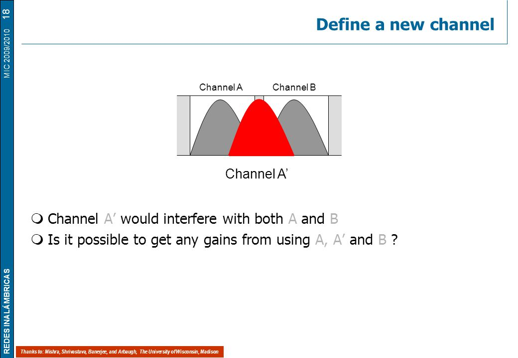 REDES INALÁMBRICAS MIC 2009/2010 Define a new channel  Channel A' would interfere with both A and B  Is it possible to get any gains from using A, A