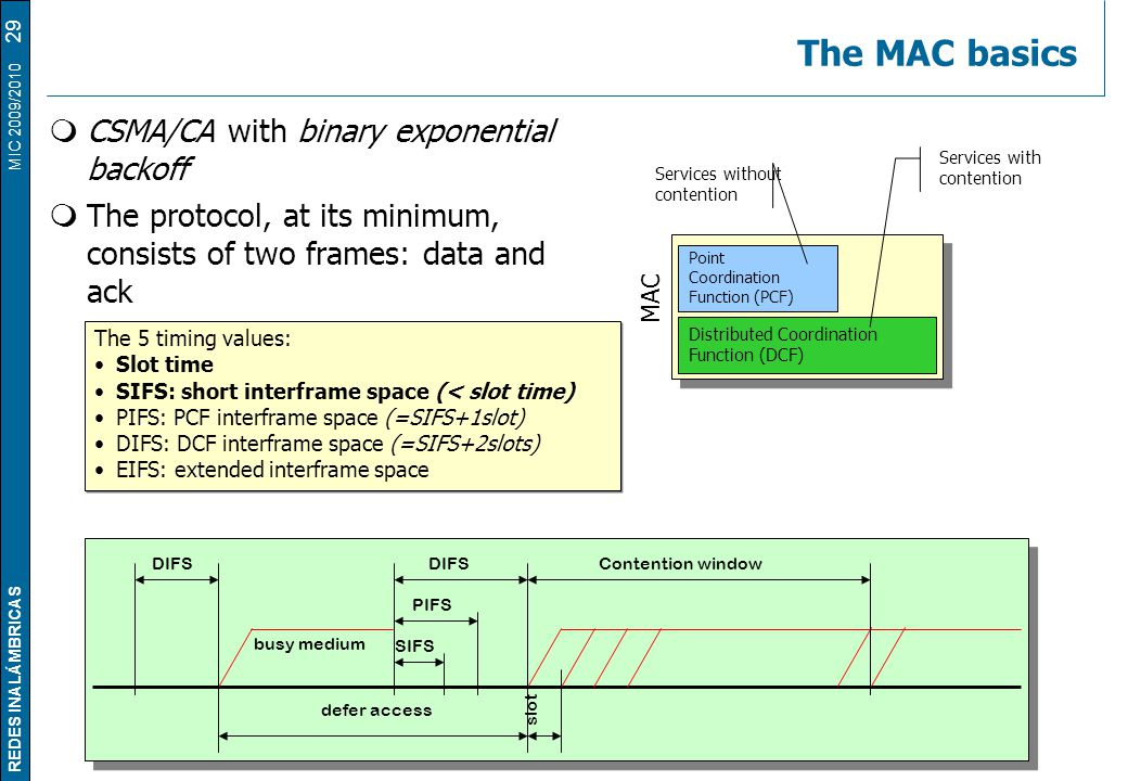 REDES INALÁMBRICAS MIC 2009/2010 The MAC basics 29  CSMA/CA with binary exponential backoff  The protocol, at its minimum, consists of two frames: data and ack Point Coordination Function (PCF) Distributed Coordination Function (DCF) MAC Services without contention Services with contention DIFS PIFS SIFS Contention window defer access busy medium slot The 5 timing values: Slot time SIFS: short interframe space (< slot time) PIFS: PCF interframe space (=SIFS+1slot) DIFS: DCF interframe space (=SIFS+2slots) EIFS: extended interframe space The 5 timing values: Slot time SIFS: short interframe space (< slot time) PIFS: PCF interframe space (=SIFS+1slot) DIFS: DCF interframe space (=SIFS+2slots) EIFS: extended interframe space
