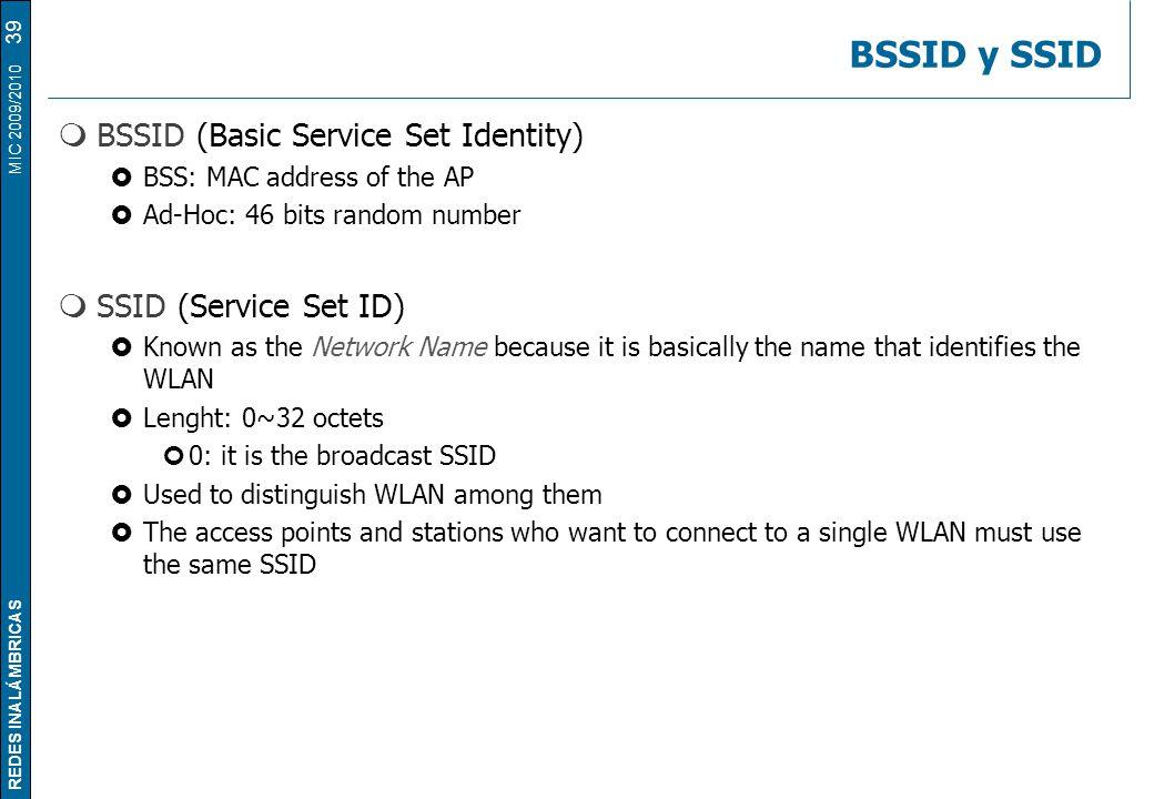 REDES INALÁMBRICAS MIC 2009/2010 BSSID y SSID  BSSID (Basic Service Set Identity)  BSS: MAC address of the AP  Ad-Hoc: 46 bits random number  SSID