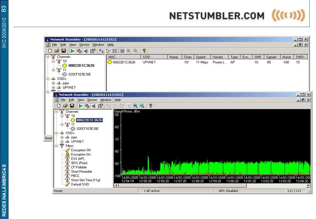 REDES INALÁMBRICAS MIC 2009/2010 83 Network Stumbler