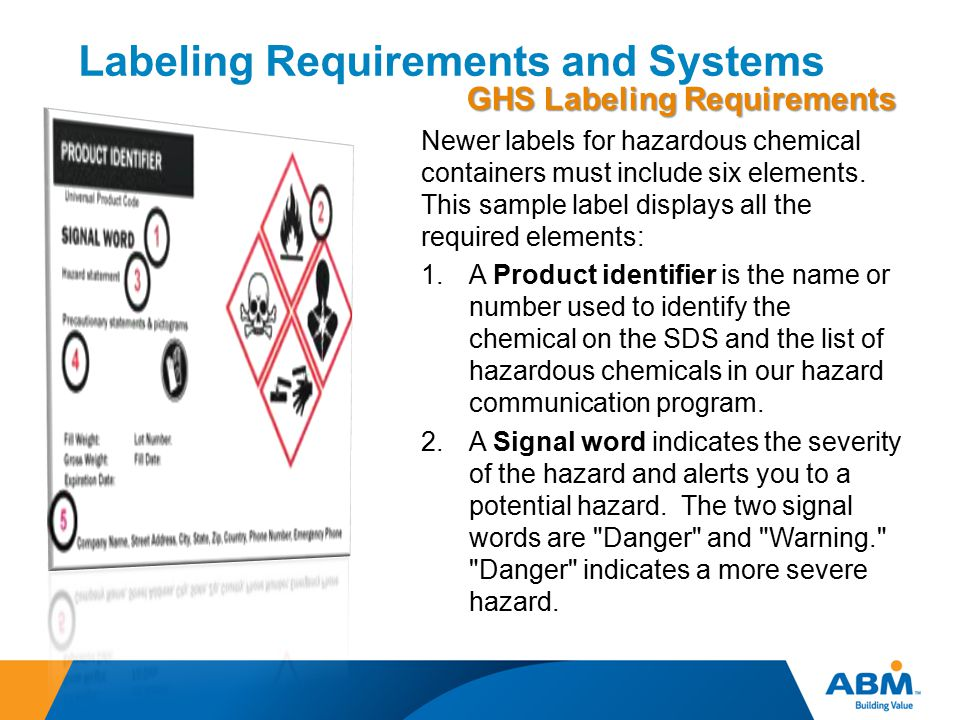 Labeling Requirements and Systems GHS Labeling Requirements Newer labels for hazardous chemical containers must include six elements. This sample labe