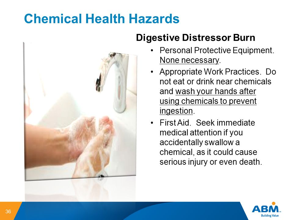 Chemical Health Hazards 36 Digestive Distressor Burn Personal Protective Equipment. None necessary. Appropriate Work Practices. Do not eat or drink ne