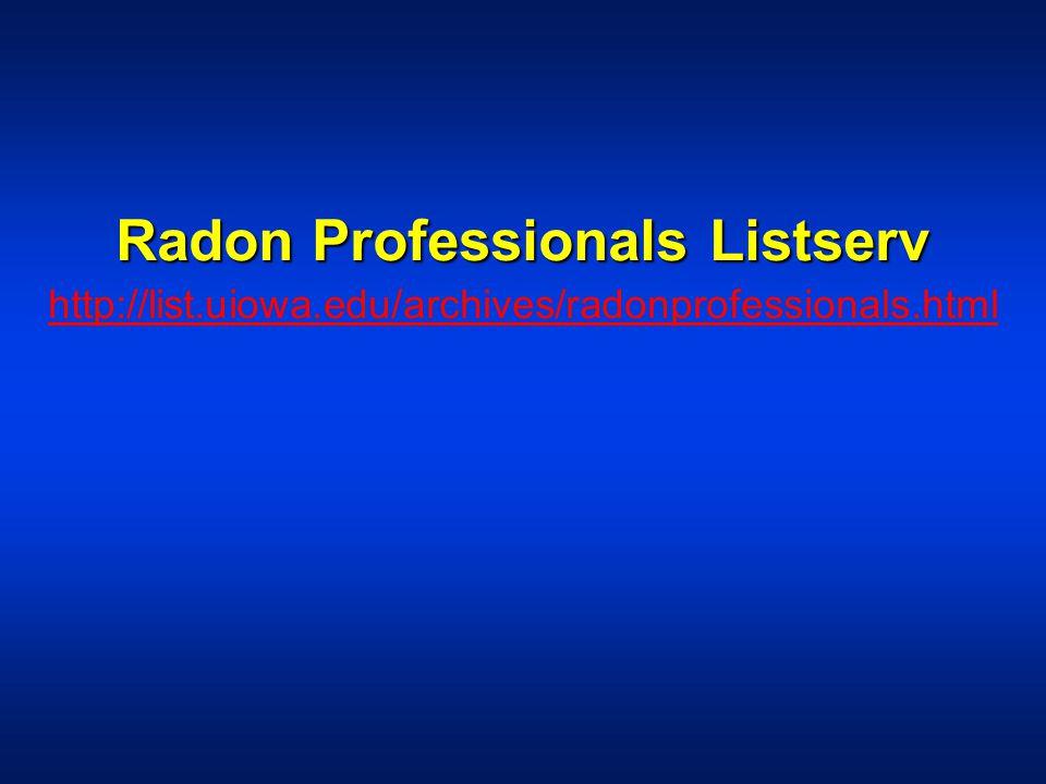 Radon Professionals Listserv http://list.uiowa.edu/archives/radonprofessionals.html