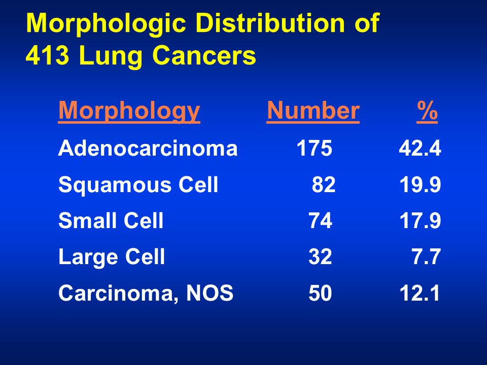 Morphologic Distribution of 413 Lung Cancers Morphology Number % Adenocarcinoma 17542.4 Squamous Cell 8219.9 Small Cell 7417.9 Large Cell 32 7.7 Carcinoma, NOS 5012.1