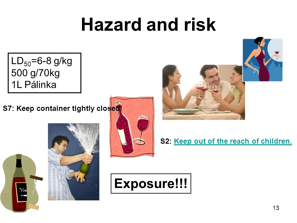 13 Hazard and risk LD 50 =6-8 g/kg 500 g/70kg 1L Pálinka Exposure!!.