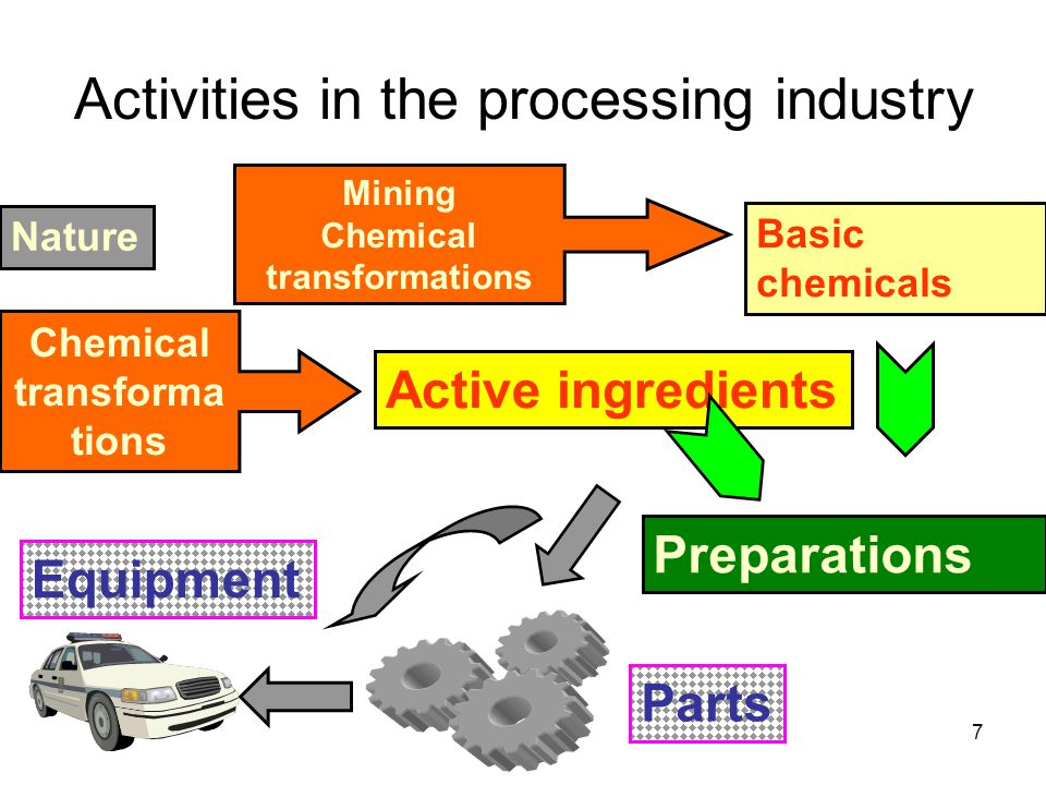 7 Activities in the processing industry Nature Basic chemicals Active ingredients Preparations Parts Mining Chemical transformations Equipment