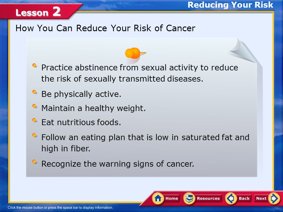Lesson 2 Reducing Your Risk A Word of Caution About Cancer