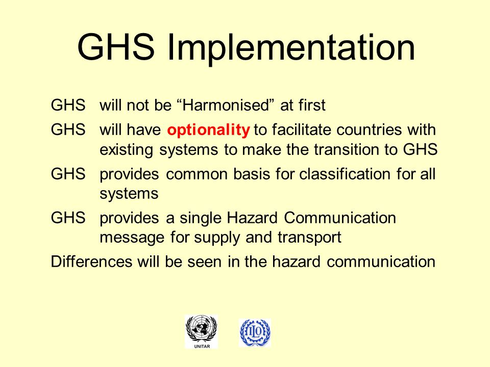 "GHSwill not be ""Harmonised"" at first GHSwill have optionality to facilitate countries with existing systems to make the transition to GHS GHSprovides"