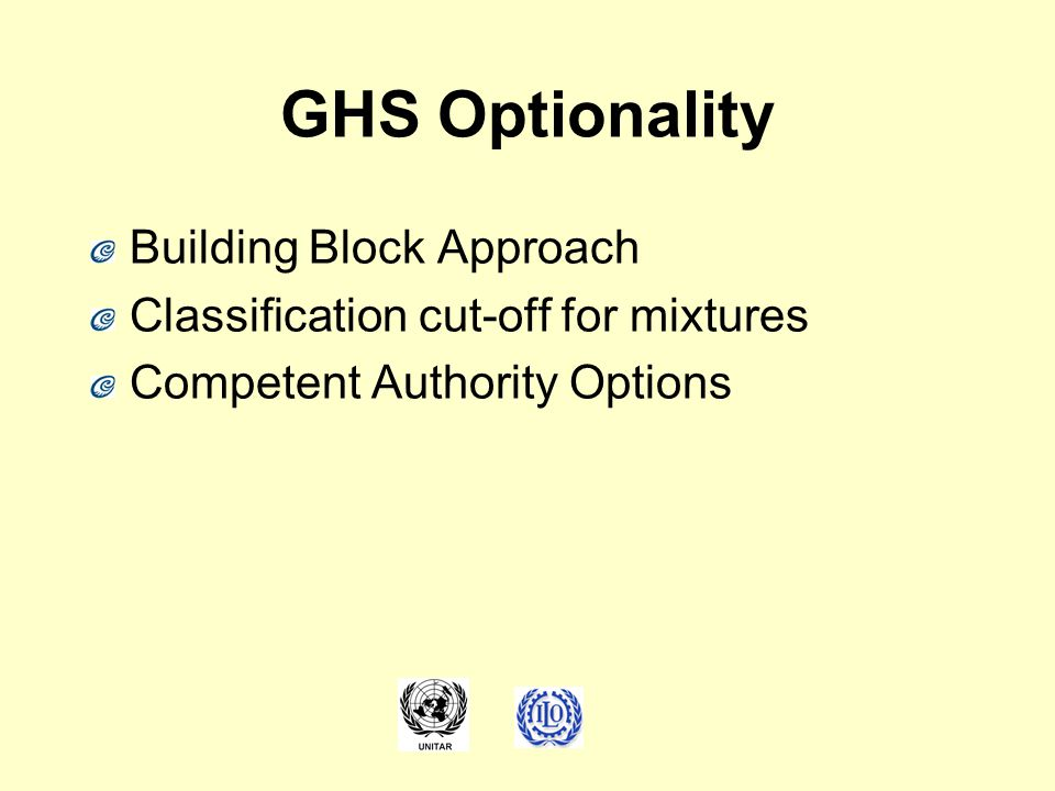 GHS Optionality Building Block Approach Classification cut-off for mixtures Competent Authority Options