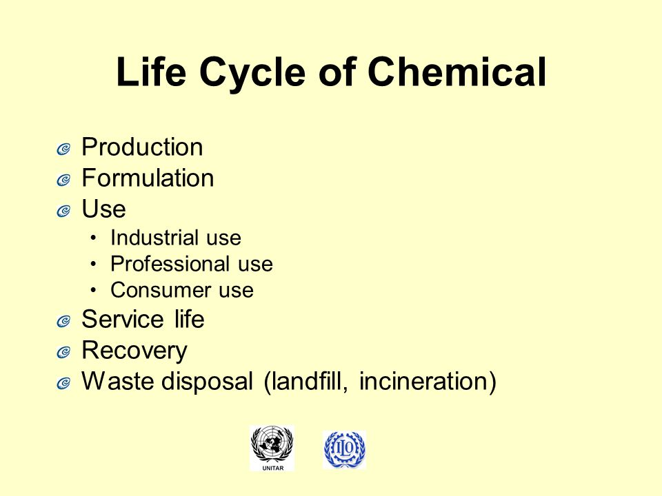Life Cycle of Chemical Production Formulation Use Industrial use Professional use Consumer use Service life Recovery Waste disposal (landfill, inciner
