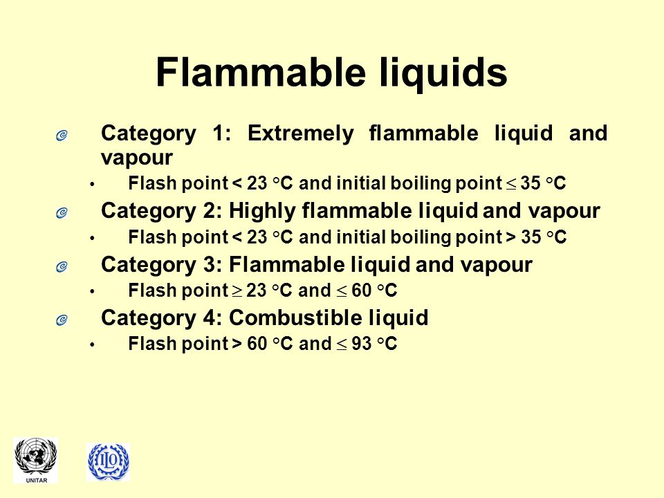 Flammable liquids Category 1: Extremely flammable liquid and vapour Flash point < 23 °C and initial boiling point  35 °C Category 2: Highly flammable