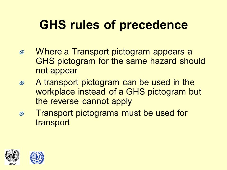 GHS rules of precedence Where a Transport pictogram appears a GHS pictogram for the same hazard should not appear A transport pictogram can be used in