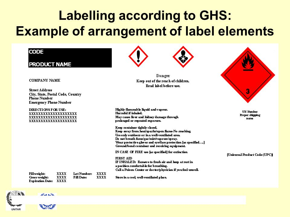 Labelling according to GHS: Example of arrangement of label elements Additional examples of arrangements of the GHS labels may be found in Annex 7 of the GHS