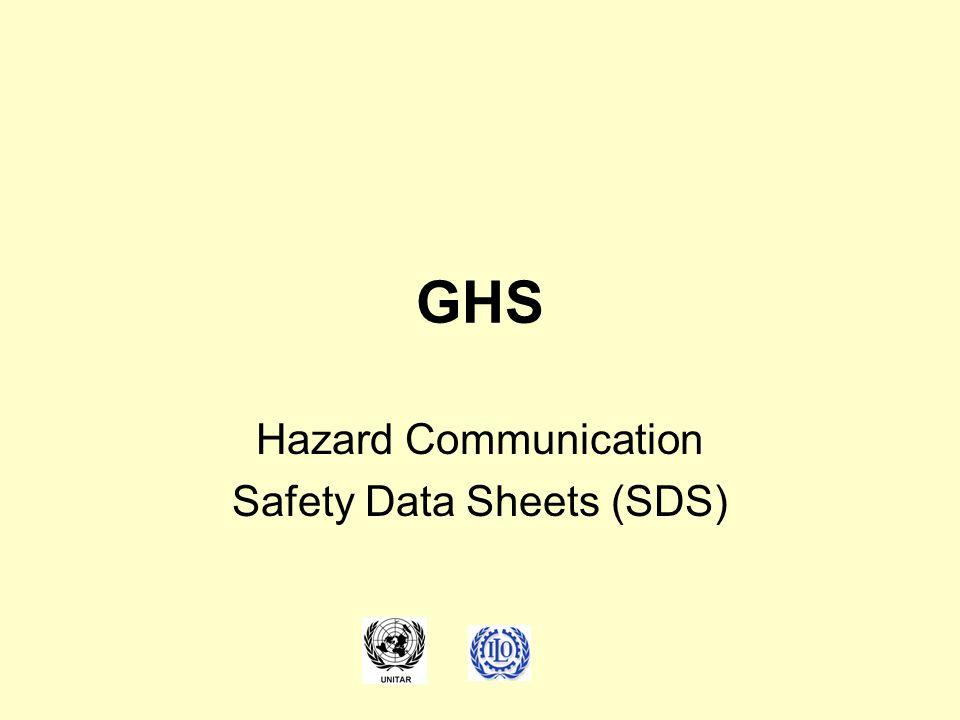 GHS Hazard Communication Safety Data Sheets (SDS)