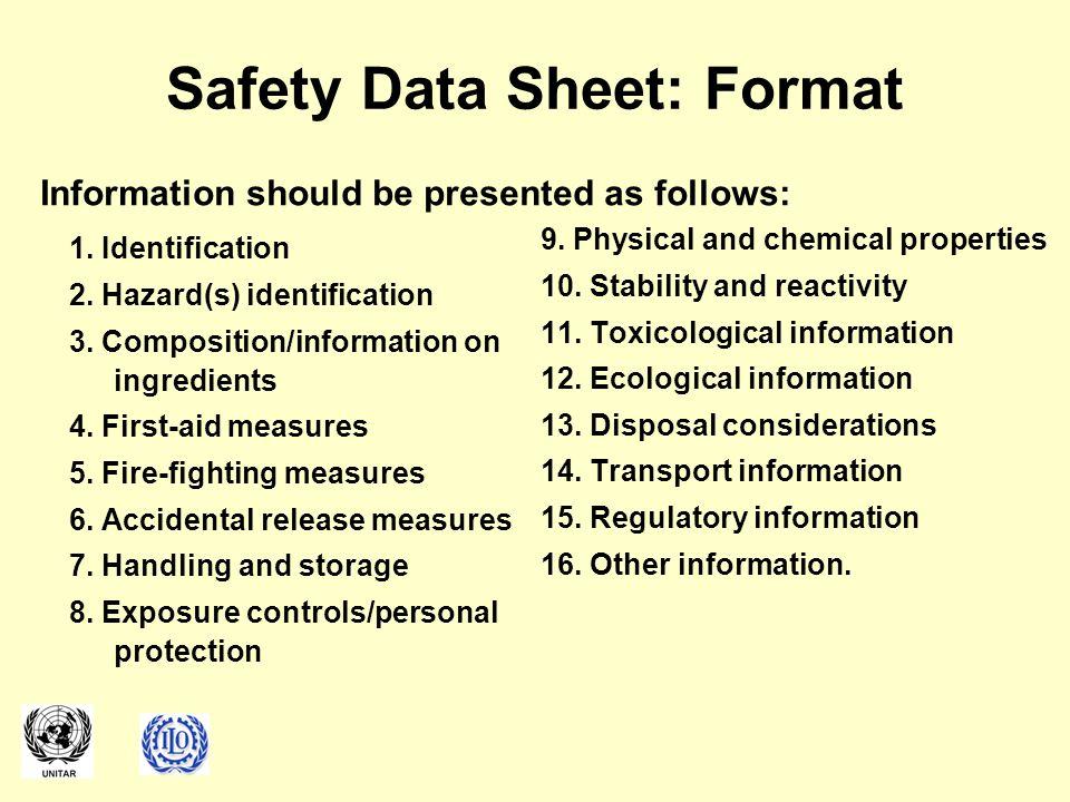 1.Identification 2. Hazard(s) identification 3. Composition/information on ingredients 4.