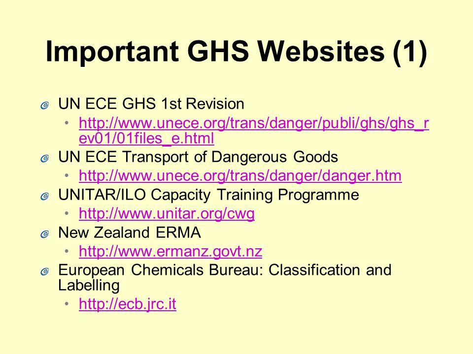 Important GHS Websites (1) UN ECE GHS 1st Revision http://www.unece.org/trans/danger/publi/ghs/ghs_r ev01/01files_e.html http://www.unece.org/trans/danger/publi/ghs/ghs_r ev01/01files_e.html UN ECE Transport of Dangerous Goods http://www.unece.org/trans/danger/danger.htm UNITAR/ILO Capacity Training Programme http://www.unitar.org/cwg New Zealand ERMA http://www.ermanz.govt.nz European Chemicals Bureau: Classification and Labelling http://ecb.jrc.it