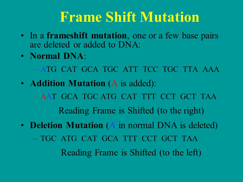 Frame Shift Mutation In a frameshift mutation, one or a few base pairs are deleted or added to DNA: Normal DNA: –ATG CAT GCA TGC ATT TCC TGC TTA AAA Addition Mutation (A is added): –AAT GCA TGC ATG CAT TTT CCT GCT TAA Reading Frame is Shifted (to the right) Deletion Mutation (A in normal DNA is deleted) –TGC ATG CAT GCA TTT CCT GCT TAA Reading Frame is Shifted (to the left)