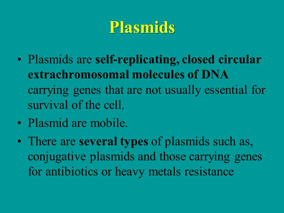 Plasmids Plasmids are self-replicating, closed circular extrachromosomal molecules of DNA carrying genes that are not usually essential for survival of the cell.