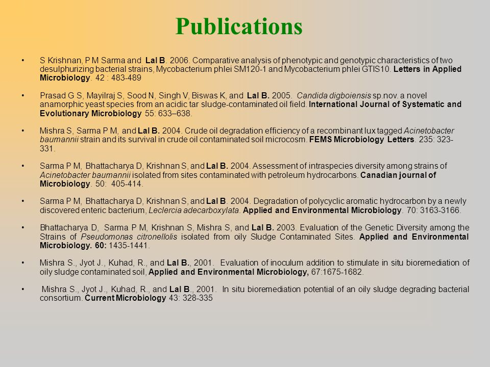 Publications S Krishnan, P M Sarma and Lal B. 2006. Comparative analysis of phenotypic and genotypic characteristics of two desulphurizing bacterial s