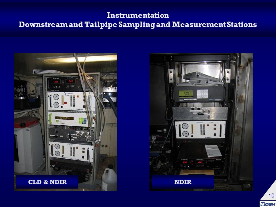 10 Instrumentation Downstream and Tailpipe Sampling and Measurement Stations CLD & NDIRNDIR